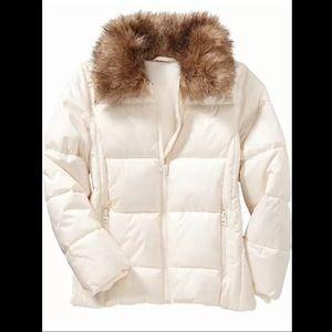 Old Navy Girls Fur Collar Puffer Coat XS 5